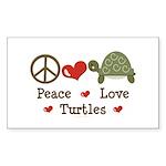 Peace Love Turtles Rectangle Sticker