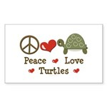 Peace Love Turtles Rectangle Sticker 50 pk)