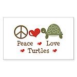 Peace Love Turtles Rectangle Sticker 50 pk)