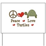Peace Love Turtles Yard Sign