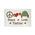 Peace Love Turtles Rectangle Magnet (10 pack)