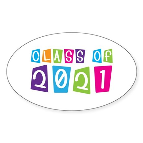 Colorful Class Of 2021 Oval Sticker