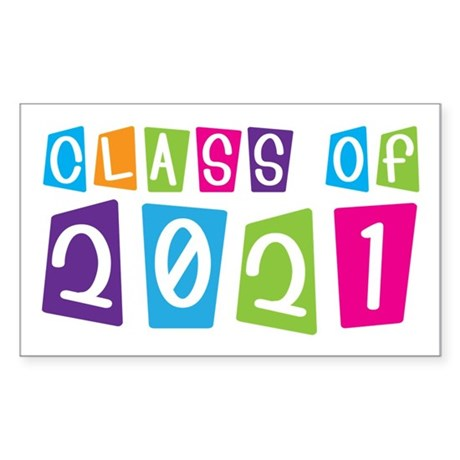 Colorful Class Of 2021 Rectangle Sticker 10 pk)