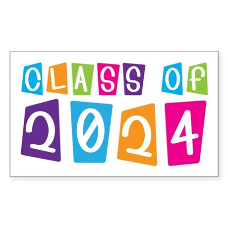 Colorful Class Of 2024 Rectangle Sticker 10 pk)