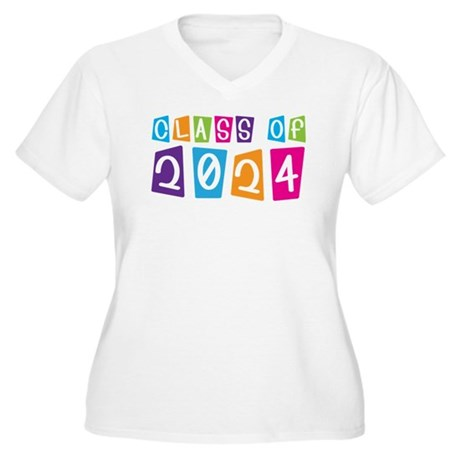 Colorful Class Of 2024 Women's Plus Size V-Neck T-