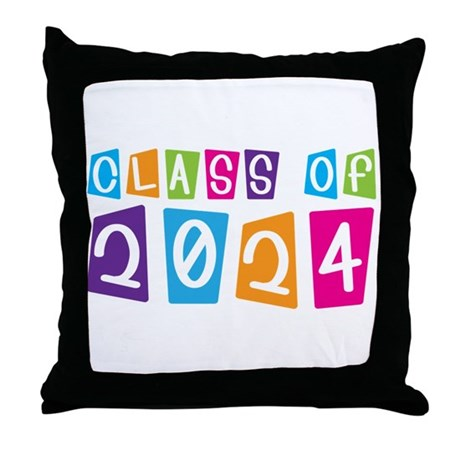 Colorful Class Of 2024 Throw Pillow