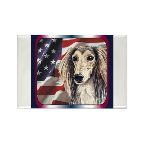 Saluki Patriotic USA Flag Rectangle Magnet (100 pa