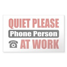 Phone Person Work Rectangle Sticker 50 pk)