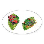 Leaf Frogs Oval Sticker