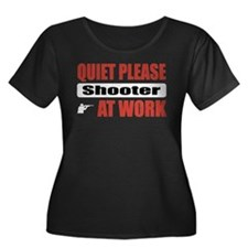 Shooter Work Women's Plus Size Scoop Neck Dark T-S
