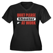 Shooter Work Women's Plus Size V-Neck Dark T-Shirt