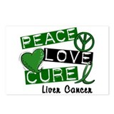 PEACE LOVE CURE LIVER CANCER L1 Postcards (Package