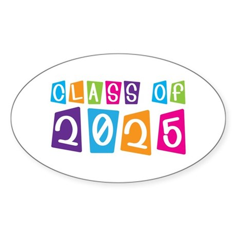 Colorful Class Of 2025 Oval Sticker (10 pk)