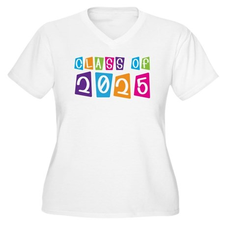 Colorful Class Of 2025 Women's Plus Size V-Neck T-