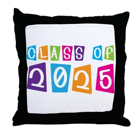 Colorful Class Of 2025 Throw Pillow