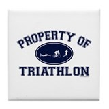 Property of Triathlon Icons Tile Coaster