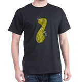 Saxophone Black T-Shirt (Asparagus)