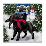 FLAT COATED RETRIEVERS WINTER VILLAGE Tile Coaster