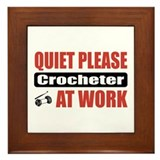 Crocheter Work Framed Tile