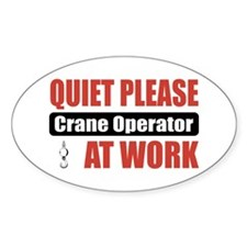 Crane Operator Work Oval Sticker (10 pk)