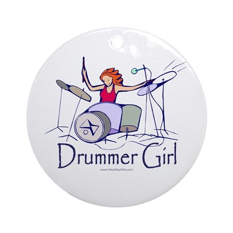 Drummer Girl Ornament (Round)