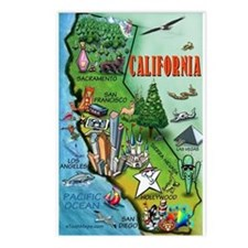 Unique California map Postcards (Package of 8)