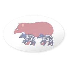 Tapir Family B Oval Sticker (50 pk)