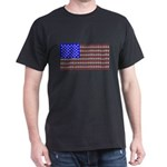 Cat Tracks American Flag Black T-Shirt