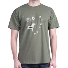 Dog Tracks Pawprints and Dog Black T-Shirt
