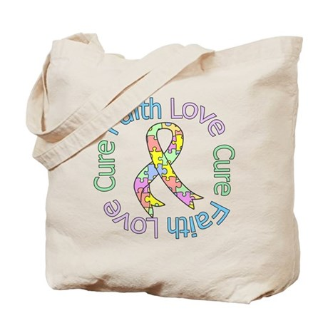 Autism Faith Love Cure Tote Bag