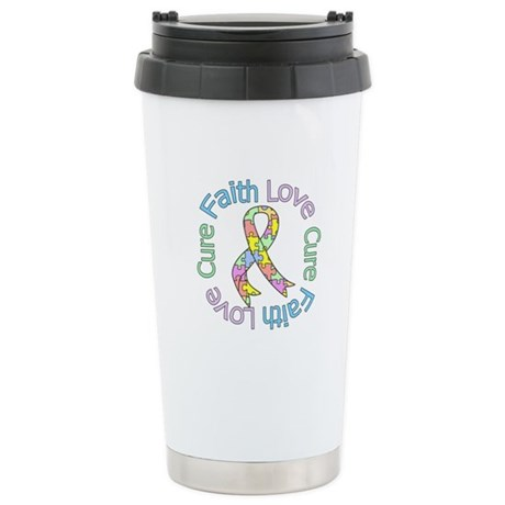 Autism Faith Love Cure Ceramic Travel Mug