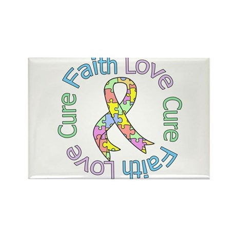 Autism Faith Love Cure Rectangle Magnet