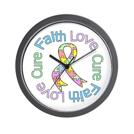 Autism Faith Love Cure Wall Clock