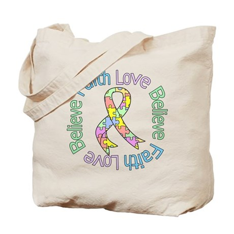 Autism FaithLoveBelieve Tote Bag