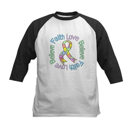 Autism FaithLoveBelieve Kids Baseball Jersey