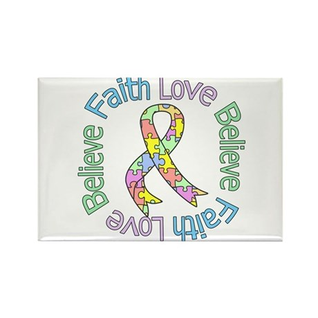 Autism FaithLoveBelieve Rectangle Magnet