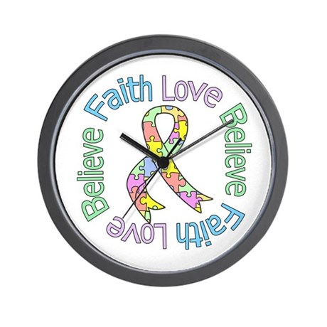 Autism FaithLoveBelieve Wall Clock
