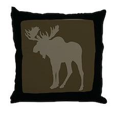 Chocolate Moose Rustic Throw Pillow