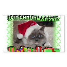 Xmas Kitty Rectangle Decal