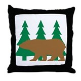 Brown Bear Cabin Throw Pillow