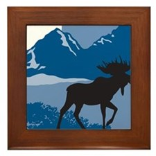 Rustic Mountain Moose Framed Tile