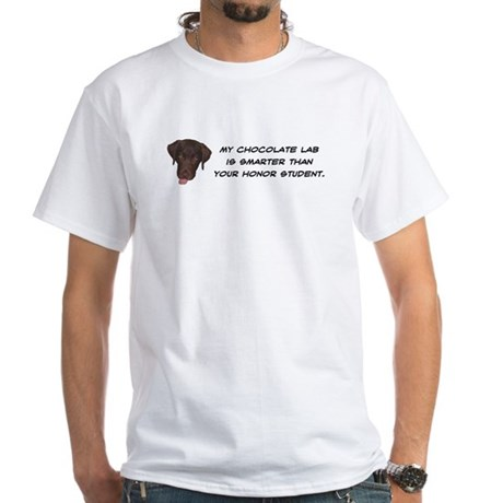 Smart Chocolate Labrador White T-Shirt