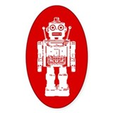 Red Robot Oval Decal