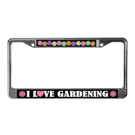I Love Gardening License Frame Gift
