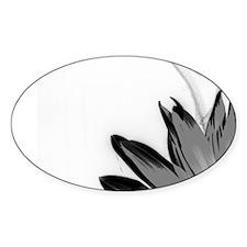 B&W Neg Corner Sunflower Oval Sticker (10 pk)