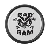 Black Bad Ram Large Wall Clock