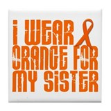 I Wear Orange For My Sister 16 Tile Coaster