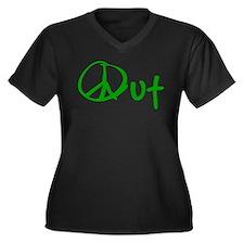 Peace green Women's Plus Size V-Neck Dark T-Shirt