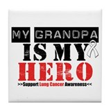 Lung Cancer Hero Grandpa Tile Coaster