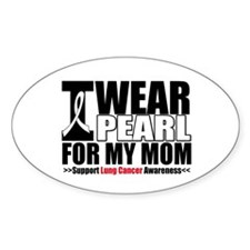 Lung Cancer Ribbon Mom Oval Sticker (10 pk)